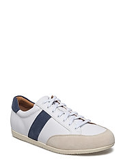 Price Leather Low-Top Sneaker - WHITE/INDIGO/IVOR