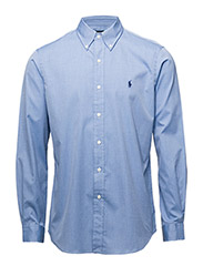 Custom Fit Cotton Oxford Shirt - BLUE END ON END