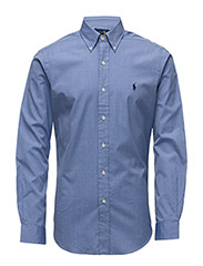 Slim Fit Cotton Oxford Shirt - BLUE END ON END