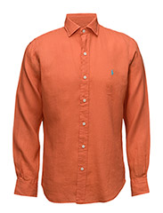 Slim Fit Linen Estate Shirt - DESERT ORANGE