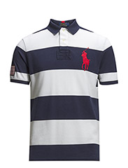 STRIPED BIG PONY MESH POLO - FR NAVY/WHITE