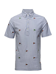 Hampton Embroidered Shirt - WHITE/INDIGO SK