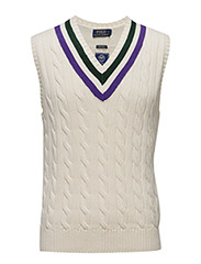 Wimbledon Pima Cotton Vest - CRICKET CREAM
