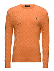 CABLE KNIT COTTON SWEATER - LIFEBOAT ORANGE