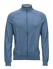 Cotton Full-Zip Sweater - VINEYARD BLUE HEATHER