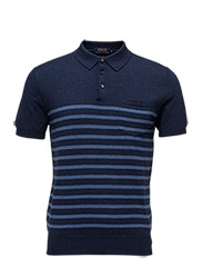 Pima Short-Sleeve Sweater - NAVY STRIPE