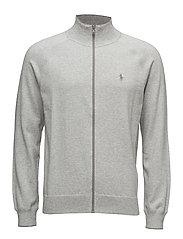 Cotton Full-Zip Sweater - COOL GREY HEATH