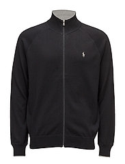 Cotton Full-Zip Sweater - POLO BLACK