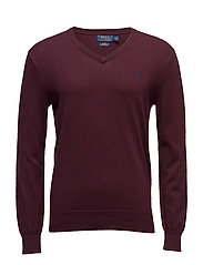 Slim Fit Pima Cotton V-Neck Sweater - ITALIAN RED
