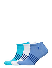 COTTON NO-SHOW SOCK 3-PACK - BLUE/WHITE
