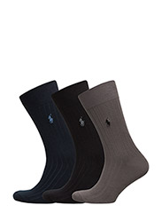 RIBBED CREW SOCK 3-PACK - ASSORTED