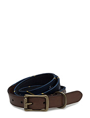 ANCHOR TIE SILK BELT - NAVY/YELLOW