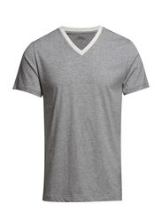 SHORT SLEEVE V-NECK - LIGHT GREY HEAT