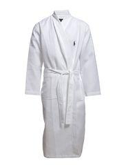 Waffle-Knit Cotton Kimono Robe - WHITE