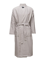 TERRY-LINED SHAWL-COLLAR ROBE - KHAKI