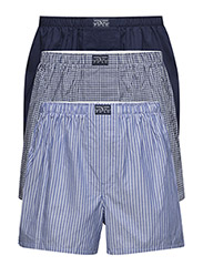 Woven Cotton Boxer 3-Pack - RYL STRIPE/NVY GINGHAM/NVY