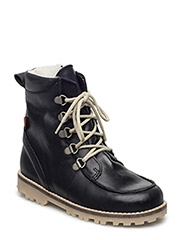 Winterboots with lace - BLACK