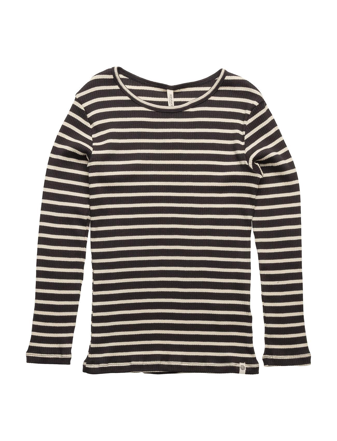 Supreme Rib Ls Blouse Navy/Off White Stripes Popupshop Langærmede t-shirts til Børn i