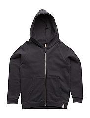 Hoodie w. Zipper Vintage Black - VINTAGE BLACK