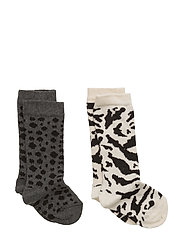 Socks (2 pair) Leo Grey/Black + Tiger Off White/Black - LEO GREY/BLACK