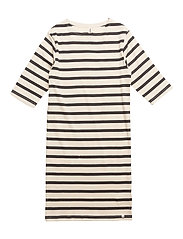 Maritime 3/4 Arms Dress Off White With Navy - OFF WHITE WITH NAVY