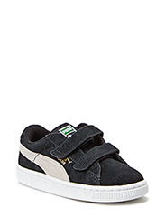 SUEDE 2 STRAPS KIDS - BLACK-WHITE