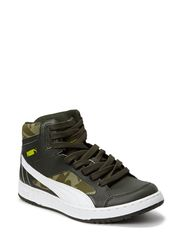 Puma Rebound v2 Hi CAMO Jr - forest night-white-burnt olive