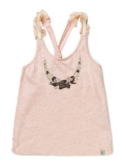 worked out tanktop with woven ruffles at shoulder - 120-rose melange