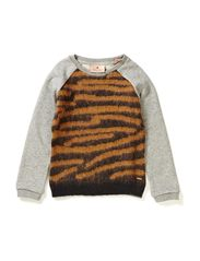 Sweat with knitted front panel - dessin B