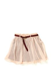 Jersey skirt with woven top layer + belt - 20 nougat