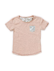 Short sleeve basic tee with woven detail - 120 rose melange