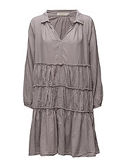 Gathered flare dress - LIGHT GREY