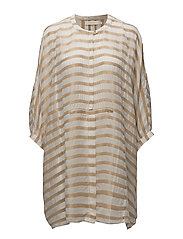 Metallic stripe shirt dress - IVORY