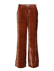Soft velvet wide pants - COGNAC