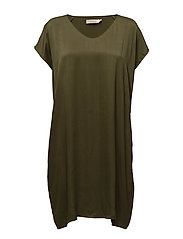 Lined scarf dress - CACTUS GREEN