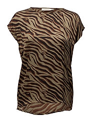 Zebra blouse - ALUMINIUM BROWN