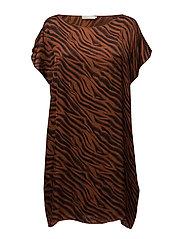Zebra scarf dress - RED BROWN
