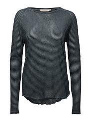 Thin fade long sleeve T shirt - BLUE SLATE