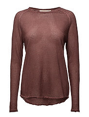 Thin fade long sleeve T shirt - DEEP TERRACOTTA
