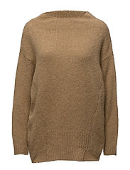 Linked cowl neck sweater - CAMEL