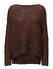 Simple knit oversized sweater - MOCHA