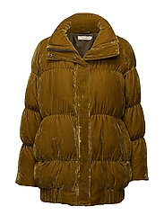 Padded velvet down jacket - GOLD