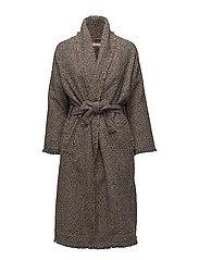 Multi weave long jacket - MUSTARD