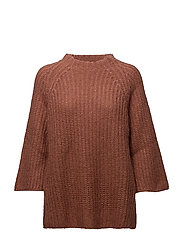 Triangle knit funnelneck sweat - ASH ROSE