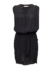 Solid wrap over short dress - FADED BLACK