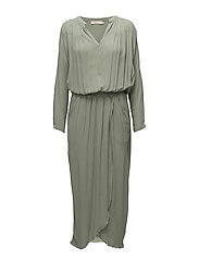 Solid wrap over l/s dress - SOFT JADE