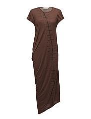 Leaf T-shirt dress - TABACCO