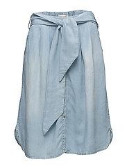 Worn denim skirt - WASHED BLUE