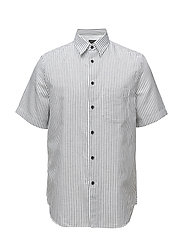 FIT 3 S/S BEACH SHIRT - WHT/NAV STRP