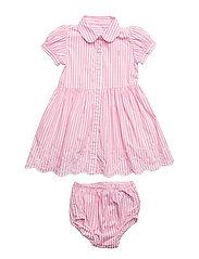 Striped Shirtdress & Bloomer - PINK/WHITE